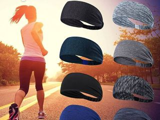 sports Headbands 6 pack black blue greys