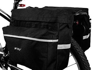 BV Bike Bag Bicycle Panniers with Adjustable Hooks  Carrying Handle  Reflective Trim and large Pockets