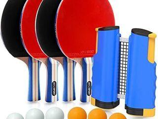 Joy J Sport Ping Pong Paddle Set with Retractable Net   4 Premium Table Tennis Rackets   6 Standard 3 Star Balls  Portable Cover Case Bag  4 Player Set
