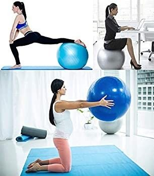 Amazonbasics Balance Ball With Foot Pump   65cm  Blue