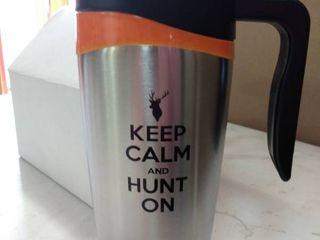 keep calm and hunt on travel tumbler mug ss