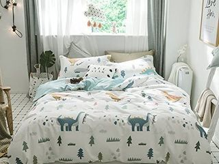Dinosaur Kids Bedding Sets Twin Cotton White 3 Pieces Premium Soft Reversible Dino Forest Print Teen Boys Girls Twin Duvet Cover Set Cotton with Zipper Closure and Ties NO Comforter