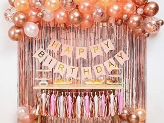 Pink and Gold Party Decorations  Pink Party Supplies  Paper Pom Poms  Glitter Garlands  Balloons  Confetti  Birthday Party   Princess Party   Ballerina Party   Bachelorette Party