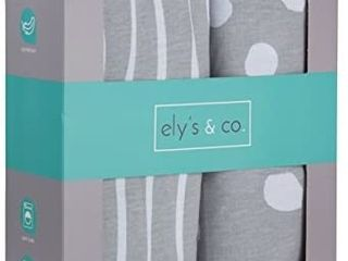 Crib Sheet Set   Toddler Sheet Set 2 Pack 100  Jersey Cotton Grey and White Abstract Stripes and Dots by Ely s   Co
