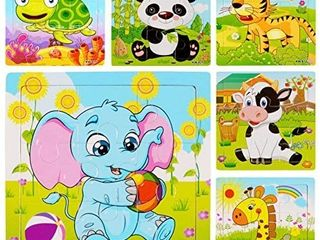 5Pack Wooden Jigsaw Puzzles for Kids Age 3 6 Year Old Animals Preschool Puzzles for Toddler Children learning Educational Puzzle Toys for Boys and Girls