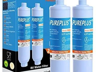 PUREPlUS RV Inline Water Filter  NSF Certified KDF 7Stage Filtration Reduces 99  Chlorine  Bad Taste  Odor for RVs  Marines  Boats  Campers  Trailer  Motorhome Drinking  Washing  Gardening  2PACK blue