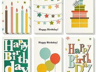 Birthday Card   48 Pack Birthday Cards Box Set  Happy Birthday Cards   Bright Party Designs Birthday Card Bulk  Envelopes Included  4 x 6 inches designs vary