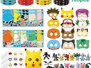 PANTIDE 105Pcs Pikachu Party Favors Make a Pikachu Stickers  Masks  Rubber Bracelet Wristband  Stickers  Mini Action Figures  Squishy Toy  Pikachu Themed Birthday Party Supplies Christmas Gifts looks complete