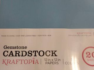 Kraftopia  Gemstone  Colorful Cardstock  Value Pack  12 x 12 Inches   20 Sheets