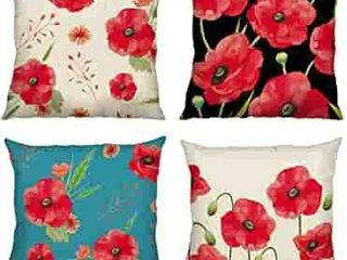 Poppy Flower Throw Pillow Covers 18 x 18 Inch Set of 4 Red Floral Decorative Throw Pillow Cases Cotton linen Square Cushion Covers for Sofa Couch Car Bedroom Home DAccor see pictures for actual images