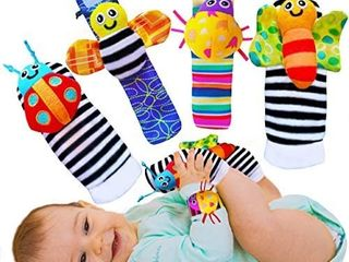 Babychino Baby Wrist Rattle   Foot Finder Socks   Baby Sensory learning Toys for Baby Boy and Girl Stuff from 0 3 6 Months Old   Cute Garden Bug Edition 4 Items Piece Set