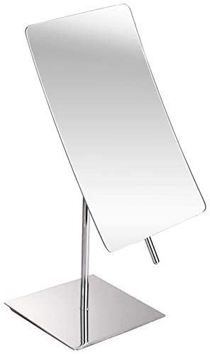 3X Magnified Premium Modern Rectangle Vanity Makeup Mirror   Portable Polished Chrome Contemporary Finish   Adjustable Easy Positioning