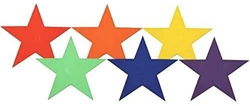 U S  Coach Supply Rainbow Star Poly Spot Markers   Star Floor Dots   6 PACK