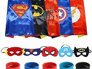 ECPARTY SUPERHEROS CAPE AND MASK MATCHING SlAP BRACElET COSTUME AND DRESS UP FOR KIDS PARTY SUPPlY PACK
