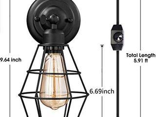 Vintage Plug in Dimmable Wall Sconce Hardwired Industrial Edison Wire Cage Wall light with Dimmer Switch 5 9FT Plug in Cord  Rustic Wall light Fixture for Headboard  Bedroom