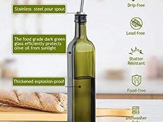 Glass Olive Oil Dispenser Bottle Set   500ml Dark Green Oil   Vinegar Cruet Bottle