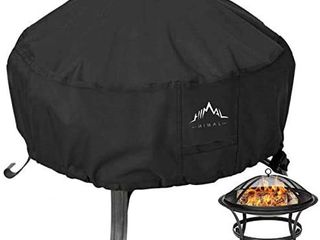 Himal Outdoors Fire Pit Cover  Heavy Duty Waterproof 600D Polyster with Thick PVC Coating  Round Fire Pit Cover  Waterproof  44 Inch  Black