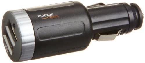 Amazon Basics 2 Port USB Car Charger with 2 1 Amp Total Output  Black