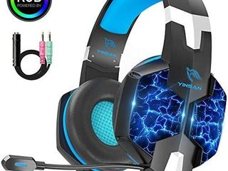 YINSAN TM 5  Bass Vibration  Gaming Headset for PC  laptop  Xbox One and PS4  Noise Isolating 3 5mm Over Ear Stereo Headphones with Mic lED lights  Blue