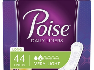 Poise Daily Incontinence Panty liners  Very light Absorbency  long  44 Count