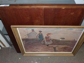 WOOD CARD TABlE AND PICTURE