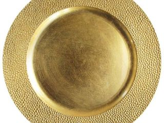 Gold Plastic Stone Edge Charger Plates   12 Pcs 13 Inch Round Wedding Party D