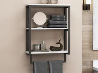 Style Selections Matte Black 2 Tier Composite Wall Mount Bathroom Shelf