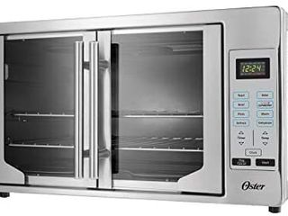 Oster French Convection Countertop and Toaster Oven   Single Door Pull and Digital Controls   Stainless Steel  Extra large