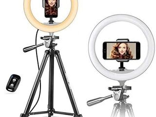 UBeesize 10  Selfie Ring light with 50  Extendable Tripod Stand   Flexible Phone Holder for live Stream Makeup YouTube Video