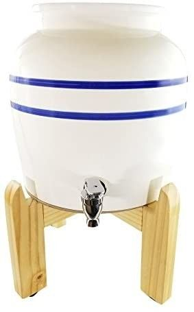 Premium Blue Stripe Porcelain Water Crock Dispenser   Wood Counter Stand Set a Elegant Countertop Dispenser With 2 5 Gallon Capacity   No Drip Faucet  Includes levelers a Easy Assembly