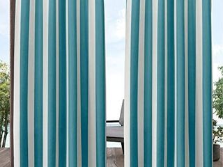 Exclusive Home Curtains Canopy Stripe Indoor Outdoor Grommet Top Curtain Panel Pair  54x84  Teal White   ONlY 1 CURTAIN