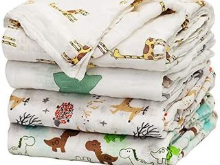 Baby Swaddle Blanket Upsimples Unisex Swaddle Wrap Soft Silky Bamboo Muslin Swaddle Blankets Neutral Receiving Blanket for Boys and Girls  47 x 47 inches  Set of 4   Fox Elephant Giraffe Dinosaur