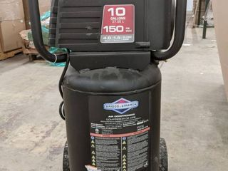 Briggs and Stratton 10 gallon 150 psi air compressor  plugged in and turned on filled to 150 psi