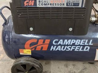 Campbell Hausfeld 8 gallon 125 psi air compressor  plugged in and aired up to 125  Wheels need tightened