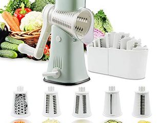 Rotary Graters 5 in 1 Cheese Grater VEKAYA Kitchen Mandoline Slicer Easy Clean with non broken strong handheld Julienne Shredder Waffle Slicers for Fruit Vegetables  green