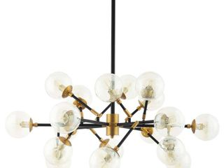 Sparkle Amber Glass and Antique Brass 18 light Pendant Chandelier  Retail 465 49