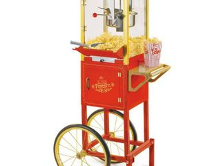 Nostalgia CCP510 Vintage 8 Ounce Professional Popcorn and Concession Cart  53 Inches Tall  Makes 32 Cups of Popcorn   Red