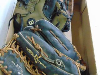 Rawlings and 2 Wilson ball gloves