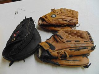 Rawlings first base  Easton  and Nike ball gloves