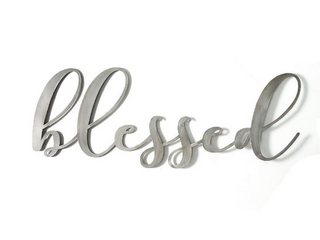 As Is   41 25  x 15 25  Oversized Blessed Metal Sign Silver   Stratton Home DAccor