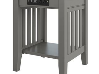 Mission End Table with Charger Grey