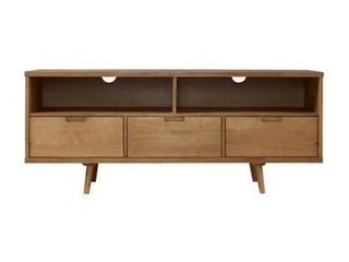 As Is   58  3 Drawer Solid Wood TV Console   Caramel