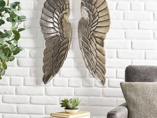 lithonia Indoor Aluminum Handcrafted Angel Wings Wall Decor by Christopher Knight Home   Nickel Antique