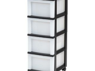 4 Drawer Cart with Organizer Top Black Pearl   Black with wheels