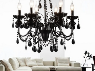 The Curated Nomad Boruss 6 light Black Crystal Chandelier   309 Retail