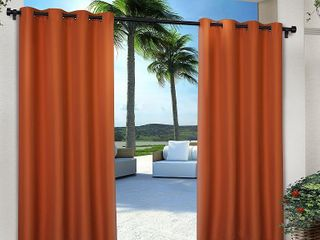 Set of 2 120 x54  Solid Cabana Grommet Top light Filtering Curtain Panels Orange   Exclusive Home