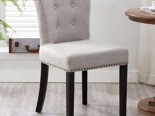 Marcel Upholstered Dining Chair  Hotel Greige and Walnut