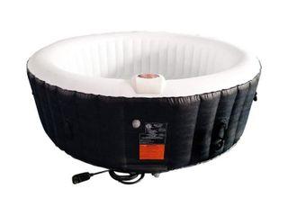 AlEKO HTIR6BKW Round Inflatable Hot Tub Spa With Cover   6 Person   265 Gallon   Black and White AS IS