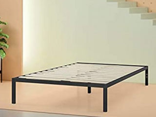Modern Studio Platform 1500 Metal Bed Frame Mattress Foundation with Headboard  no Boxspring needed  Wooden Slat Support  Twin