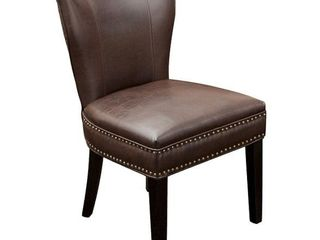 Jackie leather Accent Dining Chair Brown   Christopher Knight Home Set of 1